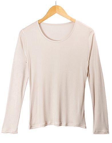 - XZ-Rain Women's 100% Pure Mulberry Silk T-Shirts Long Sleeve Undershirt (Beige, XL)