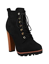 Fashion Thirsty Womens Ankle Boots Lace Up Block High Heel Platforms Combat Grip Size