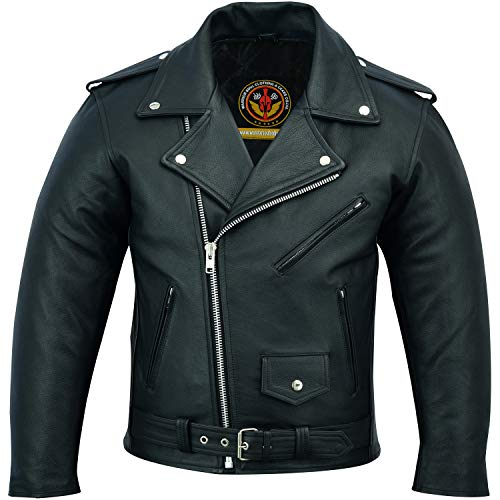(Leather Jackets for Men Biker Cafe Racer with Patch Access Lining, Silver Eyelits, YKK Heavy Zips, Studs and Buckles Classic Cowhide Milled Motorcycle Jacket (Black, XXL))