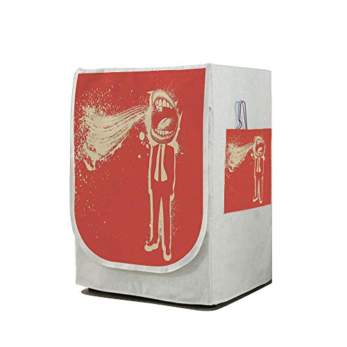 Price comparison product image Washing Machine Cover Waterproof Dust-proof Front Load Washer & Dryer Cover, Funny, Trippy Man Screaming Big Mouth Mad Man in Suits Work Life Boss Quirky Artistic Graphic Decorative, Red Cream, for Home D