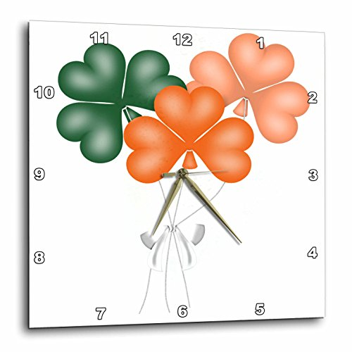 3dRose Anne Marie Baugh - St. Patricks Day - Green and Orange Clover St. Patricks Day Balloons Illustration - 10x10 Wall Clock (dpp_269318_1)