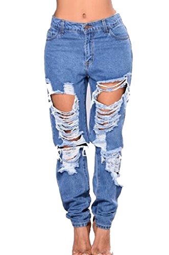 Generic Women's Stretcy Hip Hop Chic Soft Denim Jean Baggy Ripped-Holes Pant S by GenericWomen