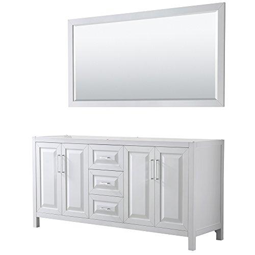 Wyndham Collection Daria 72 inch Double Bathroom Vanity in White, No Countertop, No Sink, and 70 inch Mirror ()