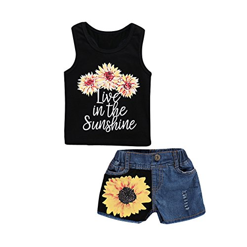 Seaby Baby Girl Sleeveless Black Floral T-Shirt + Sunflower Printing Denim Shorts 2PCS Outfit Clothes Set (90(6-12Months), Black) from Seaby