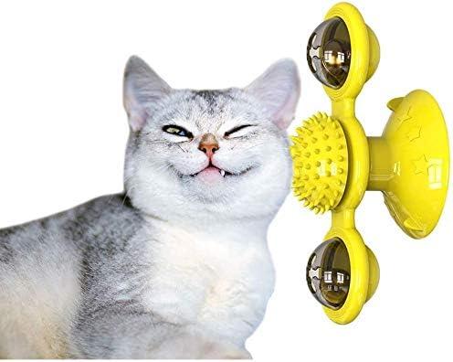 Hikaka Gato Molino de Viento Juguete Placa giratoria Burlas Mascotas Cosquillas Gatos Cepillo para el Pelo Juguete Divertido para morder Bola giratoria incorporada de luz de Resplandor: Amazon.es: Productos para mascotas