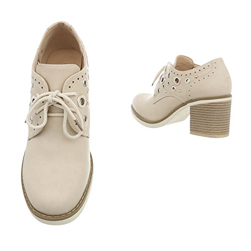De Cordones Con Ital Tacones Mini Mujer Tacón 2490 Tacon Para Zapatos design Beige qqpwA1I