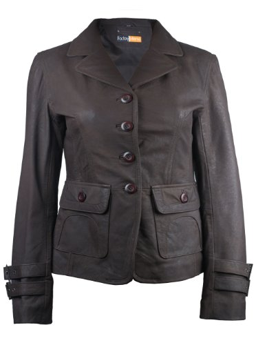 FactoryExtreme Babylonia Womens Dark Brown Leather Blazer, Small, Brown by FactoryExtreme
