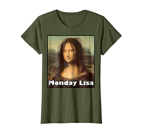Womens La Gioconda Mona Lisa Funny Monday Lisa Art T-Shirt Medium (Mona Lisa Portrait Costume)