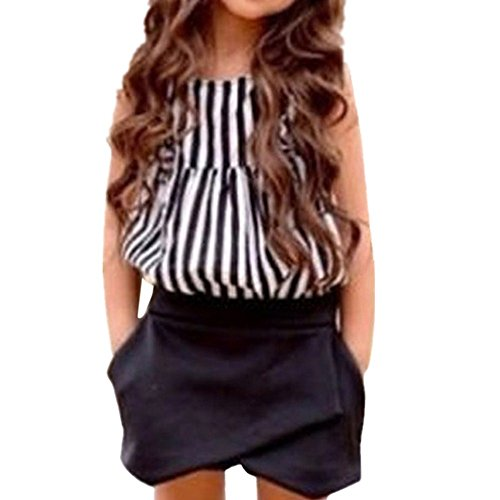 YJM 3PCS Toddler Kids Baby Girls Summer Outfit Clothes T-shirt Tops+Shorts Pants Set(7T, Black) Vest Pants Shorts