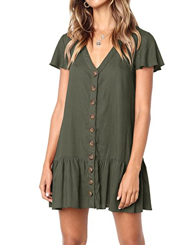 (Bbalizko Womens Cute V Neck Short Sleeve Buttion Down Loose Fit Ruffle Mini Dresses (Small, Amry Green))