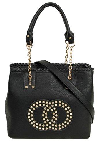 Negro Bolso Handbags Para Girly Sintético Asas De Material Mujer w8gvgz5q