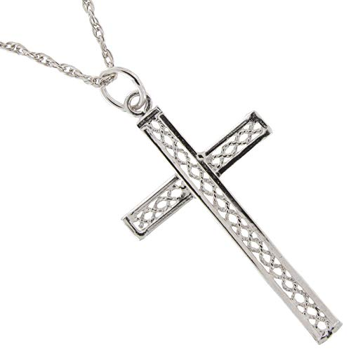 Necklace Pendant Silver Tone Cross Twisted Braided Rope Religious Necklace For Women