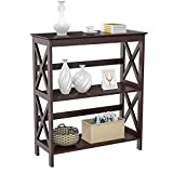 Yaheetech 3 Tier Espresso Finish Wood Entryway Table Bookcase Bookshelf Display Rack Stand Storage Shelving Unit: more info