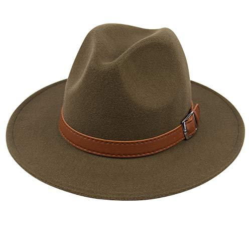 Lanzom Womens Classic Wide Brim Floppy Panama Hat Belt Buckle Wool Fedora Hat (One Size, Z Belt-Army Green)