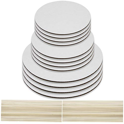 8, 10, 12 Inch Cake Boards and Wooden Dowels Tier Stacking Kit Decorating Set of 12