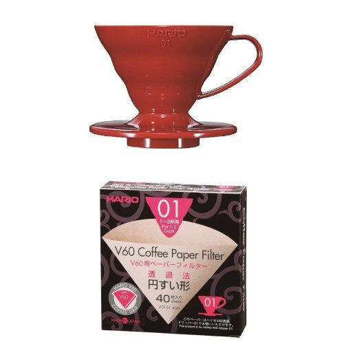 Hario V60 Red Coffee Dripper 01 with Misarashi V60 Paper Filters 40 Sheets...