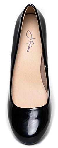 Eclair J Classic Pumps Work Toe Black Round Kitten Shoes Patent Heel Low Dress Adams aRRx5wqf