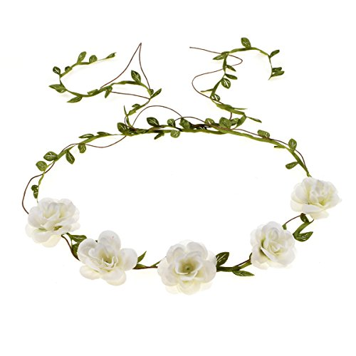 DDazzling Flower Girl Halo Floral Wreath Headband Floral Garland Headbands Photo Props (Ivory) (Ivory)]()