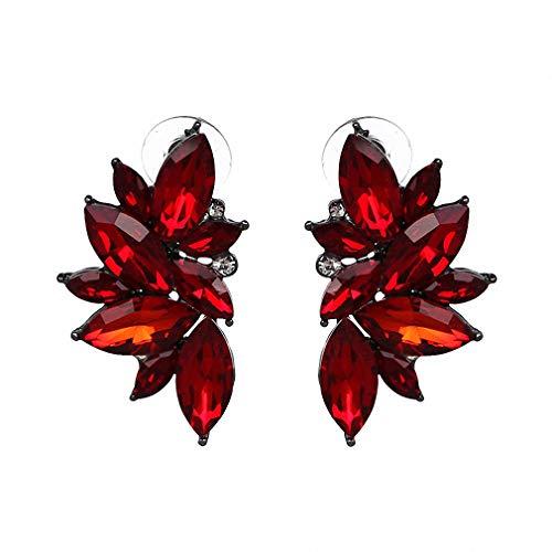 (Vintage Design Crystal Earrings Women Statement Stud Earrings Women Earrings Jewelry Red)