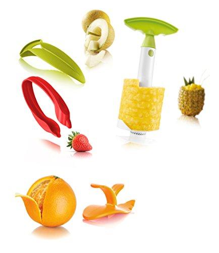 Checkout Tomorrow's Kitchen  48892606 Fruit Set-Melon Slicer, Strawberry Huller, Citrus Peeler, & Pineapple Slicer, Multicolor save