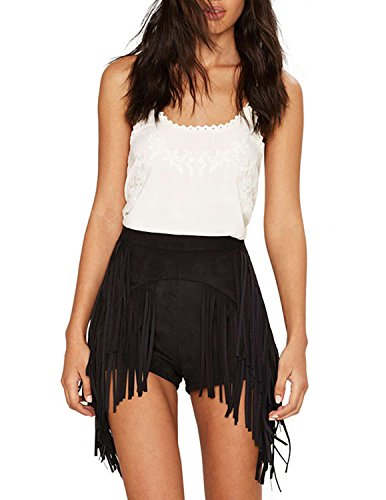 ASMAX HaoDuoYi Women Fashion Sexy Fringe Tassel High Waist Suede Bodycon Shorts (X-Small, Black)