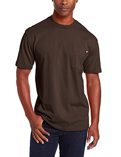 - Dickie's Men's Short Sleeve Heavyweight Crew Neck Pocket T-Shirt, Chocolate, Large