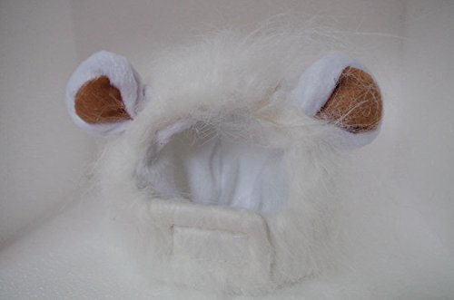 UEETEK Adorable Pet Hat Funny Lion Mane Wig Pet Cat Kitty Puppy Cosplay Costumes Hairpiece Caps With Ears for Pet Dog Cat Dress Up (White)
