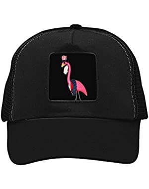 Unisex America Pink Flamingos Trucker Hat Adjustable Mesh Cap