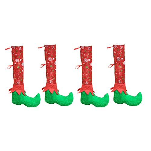 BESTOYARD クリスマステーブルチェアレッグカバーエルフエルフ足シューズレッグパーティーデコレーションノベルティクリスマスディナーテーブルデコレーション4PCS