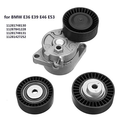 GOLDEN2STAR - Set of Belt Tensioner + Idler Pulley Kit Replacement For BMW E36 E39 E46 E53 11287841228
