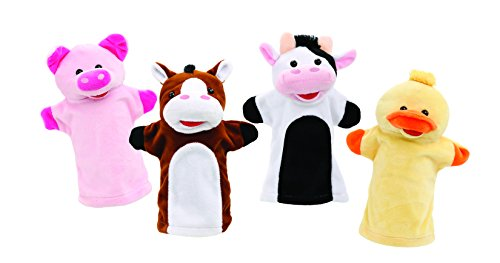 Animal Sounds Toddler - Animal House Talking Animal Hand Puppets by Includes (4) Hand Puppets, Each With A Unique Animal Sound When You Squeeze | Baby Gift | Toddler Gift (Farm Friends)