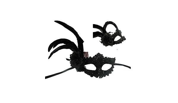 PromMask Mascara Facial Careta Protector de Cara dominó Frente Falso Halloween Princesa Media Cara diversión Cosplay Danza máscara Negro Pluma: Amazon.es: ...