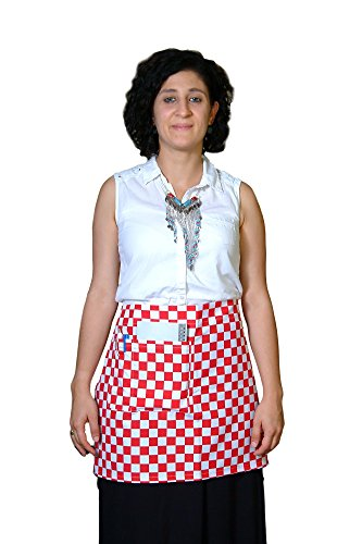 Waist Apron Unisex Half Apron Waiter Waitress Restaurant Bistro Cafe Apron Checkered Apron with One Front Pocket plus pencil pocket Waist Apron (15