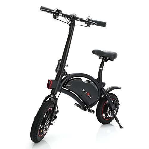 - ROLLGAN Dolphin Electric Bike/Bicycle/Scooter with UL2272 12 inch Folding Body E-Bike with 12 Mile Range,Collapsible Frame,APP Support,36V 350W Rear Engine,Dual Mechanical Disc Brakes