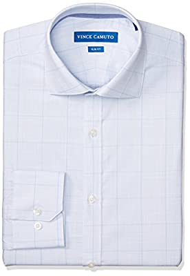 Vince Camuto Men's Slim Fit Performance Light Blue Plaid Dress Shirt