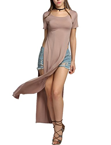 Short Maxi with Side Casual Slit Long Brown Dresses Sleeve Qearal Women's XE0q1