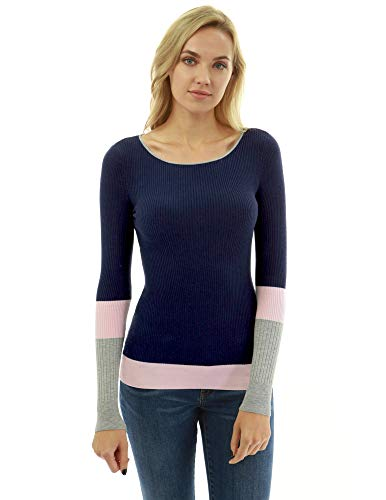 PattyBoutik Women Crewneck Color Block Ribbed Sweater (Navy Blue, Pink and Gray ()