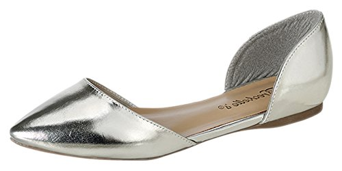 Faux Womens Pointed Leather Flats Silver D'Orsay 51 Breckelle's Toe g7R5wzqqx