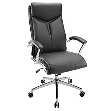 Realspace R Verismo Bonded Leather High-Back Chair, Black Chrome