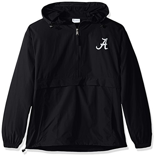 - Champion NCAA Men's Half Zip Front Pocket Packable Jacket Alabama Crimson Tide X-Large