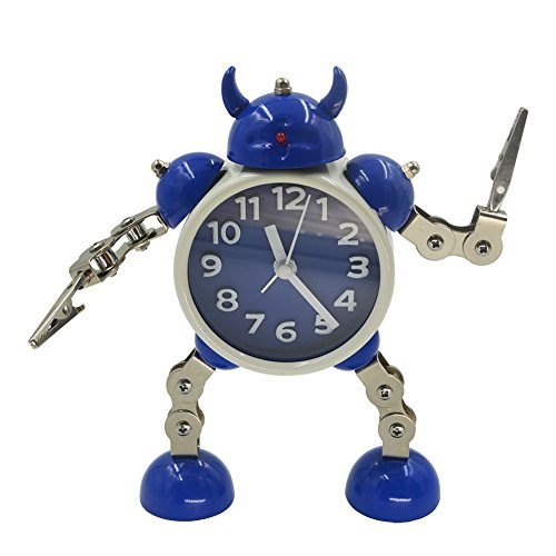 - Gigibon Alarm Clock for Kids, Gift Ideas Robot Cute&Fun, Battery-operated,to Move/Twist Legs & Arms for Many Poses, Gift to Children (1, Blue-White)