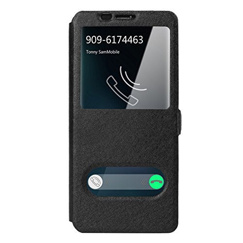 Galaxy S9 Case, AICase [ Window View ] Lightweight PU Leather Magnet Closure Flip View 360 Degree Full Body Protection Case Flip Folio Stand Cover for Samsung Galaxy S9 (Black)