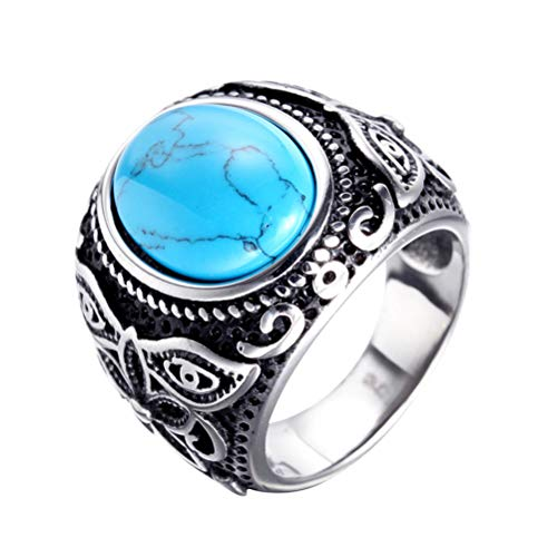 Oakky Retro Unisex Stainless Steel Inlaid Oval Sapphire Gemstone Carved Flower Signet Ring European and American Style Silver Plated Size 10