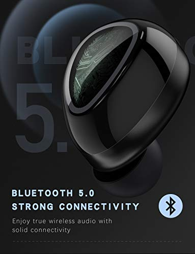 PeohZarr Wireless Earbuds Bluetooth 5.0 True Wireless Earbuds Deep Bass, Touch Control, Built-in Mic, IPX7 Waterproof, 15H Playback Time, Bluetooth Earbuds with Portable Charging Case