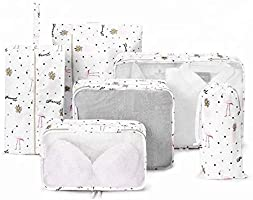Suitcase Organizer Packing Cubes Laundry Pouch 6 pieces/Set White Flamingo