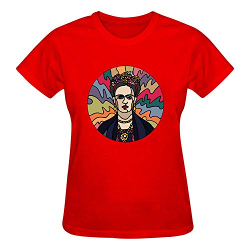SGniod Women's Casual T-Shirt Flowery Fr-ida KAH-lo Short Sleeve 3D Print Tee Red -
