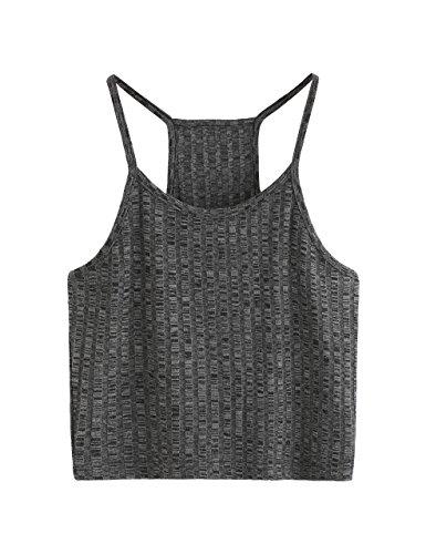 SheIn Women's Summer Basic Sexy Strappy Sleeveless Racerback Crop Top Large Dark Grey
