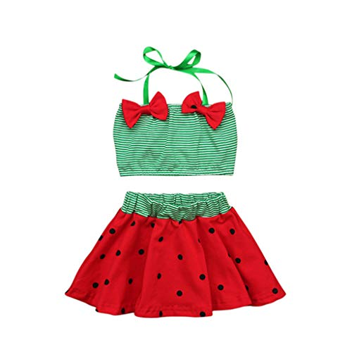 Baby/Toddler Girl Swimsuit Two-pieceInfant Toddlers Baby Kids Striped Straps Bow Polka Dot Printed Swimwear Outfits Green