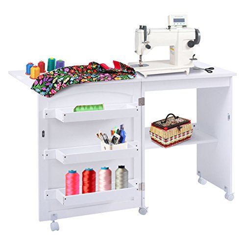 Giantex White Folding Sewing Craft Cart Table Shelves Storage Cabinet Home Furniture W/Wheels -  HW53994