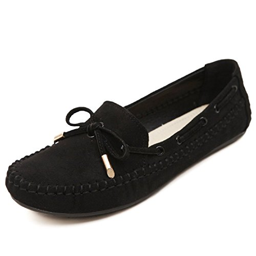 D'entraînement Chaussures Mocassins Mou Femme Noir Tout Casual Chaussure match Minetom Fond Bowknot Ballet Plat Peas gnRwOq